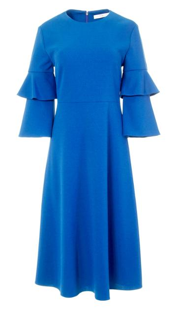 Structured Crepe Bell Sleeve Midi Dress