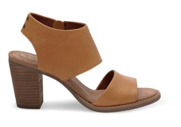 Toms Toms Tan Leather Women's Majorca Cutout Sandals - Size 5.5