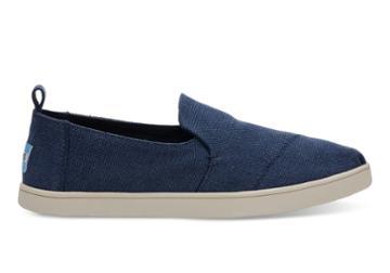 Toms Toms Navy Washed Canvas Women's Deconstructed Cupsole Alpargatas Shoes - Size 8.5