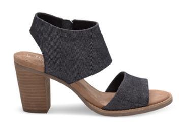 Toms Toms Black Denim Women's Majorca Cutout Sandals - Size 9.5