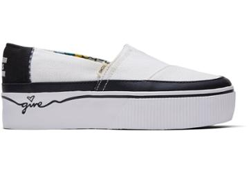 Toms Black And White Canvas Give Platform Women's Boardwalk Classics Venice Collection