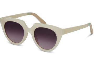 Toms Traveler By Toms Lourdes Matte White Asparagus Sunglasses With Violet Brown Gradient Lens