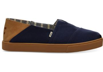 Toms Navy Textured Twill Convertible Cupsole Mens Classics Venice Collection