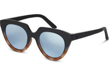 Toms Toms Lourdes Matte Black Tortoise Fade Sunglasses With Deep Blue Mirror Lens