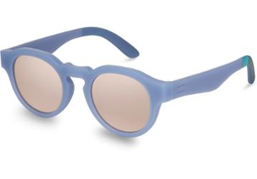 Toms Traveler By Toms Bryton Matte Infinity Blue Mother Of Pearl Lens Sunglasses With Pink Mirror Lens