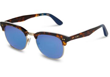 Toms Toms Gavin Whiskey Tortoise Sunglasses With Deep Blue Mirror Lens