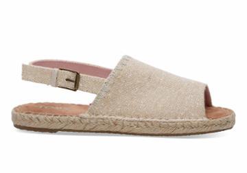 Toms Toms Natural Metallic Linen Women's Clara Espadrilles Shoes - Size 8