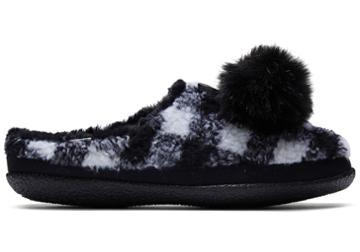 Toms Black Plaid Faux Fur With Tassels Women's Ivy Slippers