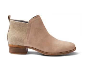 Toms Toms Desert Taupe Suede And Wool Women's Deia Booties - Size 6.5