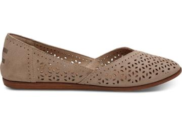 Toms Desert Taupe Perforated Suede Women's Jutti Flats