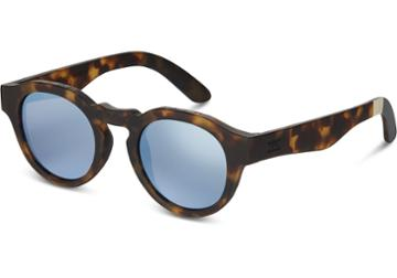 Toms Toms Bryton Matte Blonde Tortoise Sunglasses With Deep Blue Mirror Lens