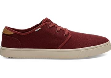 Toms Red Ochre Heritage Canvas Mens Carlo Sneakers Topanga Collection