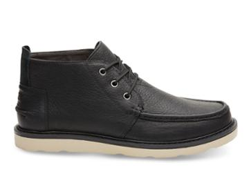 Toms Black Pull-up Leather Men's Chukka Boots