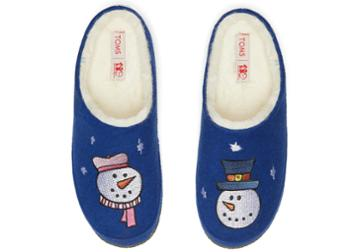 Toms Royal Blue Felt Save The Children Snow Man Women's Ivy Slippers