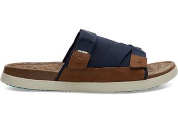 Toms Navy Synthetic Nubuck Mesh Mens Trvl Lite Sandals