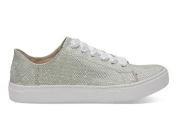 Toms Toms Ivory Glitter Mesh Women's Lenox Sneakers Shoes - Size 6.5