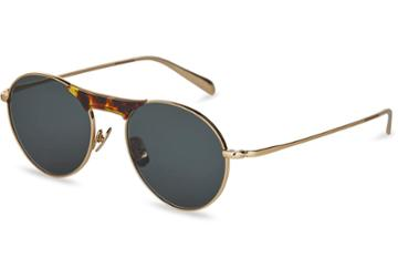 Toms Toms Melrose 201 Shiny Gold Sunglasses With Green Grey Lens