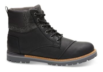 Toms Toms Waterproof Black Leather Brushed Wool Men's Ashland Boots - Size 7