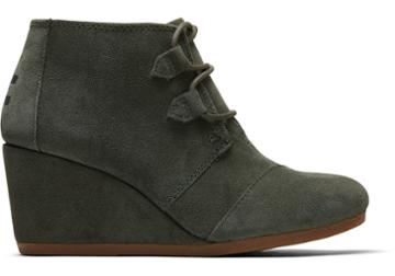 Toms Dusty Olive Suede Women's Kala Booties