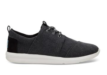 Toms Toms Black Washed Canvas Women's Del Rey Sneakers Shoes - Size 9.5