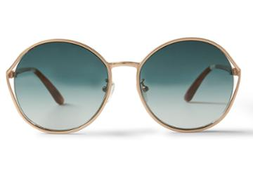 Toms Toms Blythe Satin Gold Peach Crystal Sunglasses With Blue Brown Gradient Lens