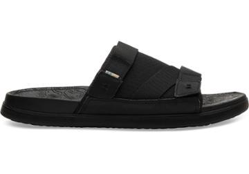 Toms Black Synthetic Nubuck Textured Mesh Mix Mens Trvl Lite Sandals