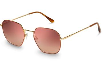 Toms Toms Sawyer Yellow Gold Spice Enamel Bronze Double Gradient Mirror Lens Sunglasses With Brown Gradient Lens