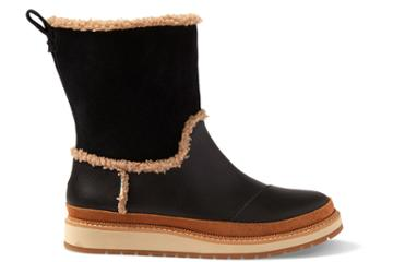Toms Black Leather And Suede Women's Makenna Boots