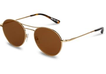 Toms Toms Melrose Shiny Gold Mirror Sunglasses With Green Grey Lens