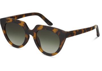 Toms Toms Lourdes Matte Blonde Tortoise Polarized Sunglasses With Green Polarized Lens