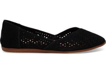 Toms Black Perforated Suede Women's Jutti Flats