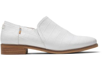 Toms White Croc Embossed Leather Women's Shaye Low Booties