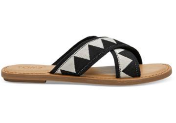 Toms Black Geometric Women's Viv Sandals
