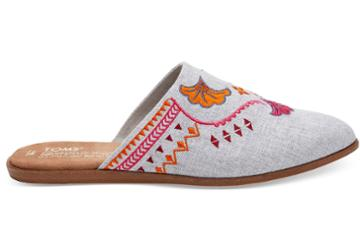Toms Toms Embroidered Drizzle Grey Chambray Women's Jutti Mules Shoes - Size 5.5