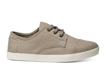 Toms Toms Taupe Leather Washed Canvas Men's Paseo Sneakers Shoes - Size 6