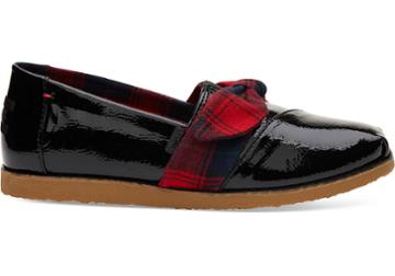Toms Black Synthetic Leather Tartan Bow Women's Classics