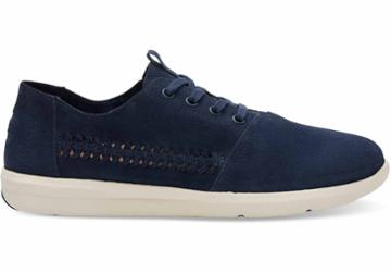 Toms Toms Navy Woven Suede Men's Del Rey Sneakers Shoes - Size 11