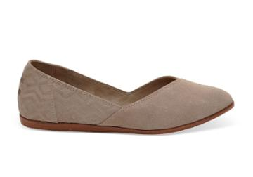 Toms Toms Desert Taupe Suede Diamond Embossed Women's Jutti Flats Shoes - Size 6.5