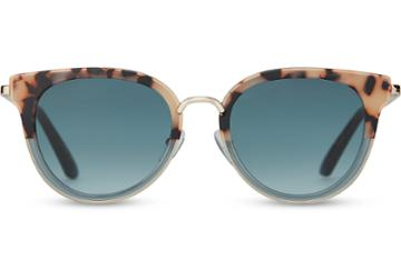 Toms Toms Rey Cream Tortoise Teal Fade Sunglasses With Turquoise Gradient Lens