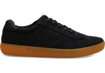Toms Black Cotton Twill Mens Leandro Sneakers