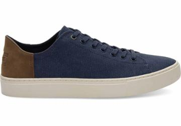 Toms Toms Navy Washed Canvas Men's Lenox Sneakers Shoes - Size 9.5