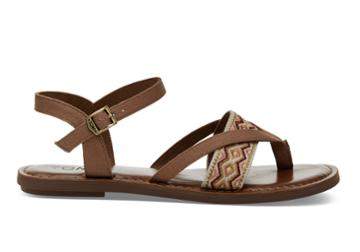 Toms Toms Toffee Canvas Embroidery Women's Lexie Sandals - Size 11