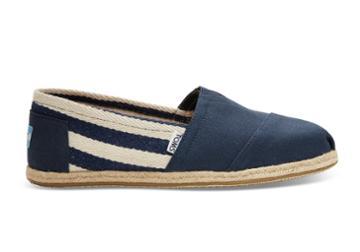 Toms Toms Navy Stripe University Women's Espadrilles Shoes - Size 5.5