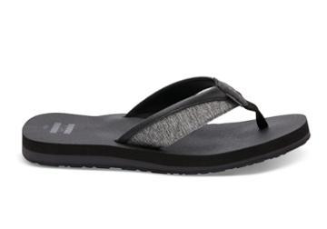 Toms Toms Forged Iron Grey Space-dye Men's Santiago Flip-flops - Size 7