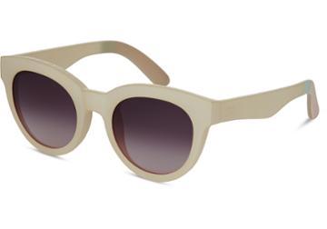 Toms Toms Florentin Matte White Asparagus Sunglasses With Violet Brown Gradient Lens