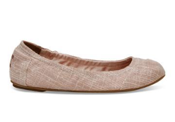 Toms Toms Pink Metallic Burlap Women's Ballet Flats Shoes - Size 5.5