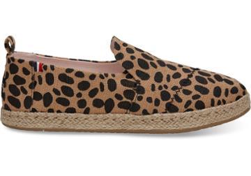 Toms Toms Clare V. Leopard Heritage Canvas Women's Deconstructed Alpargatas Shoes - Size 9