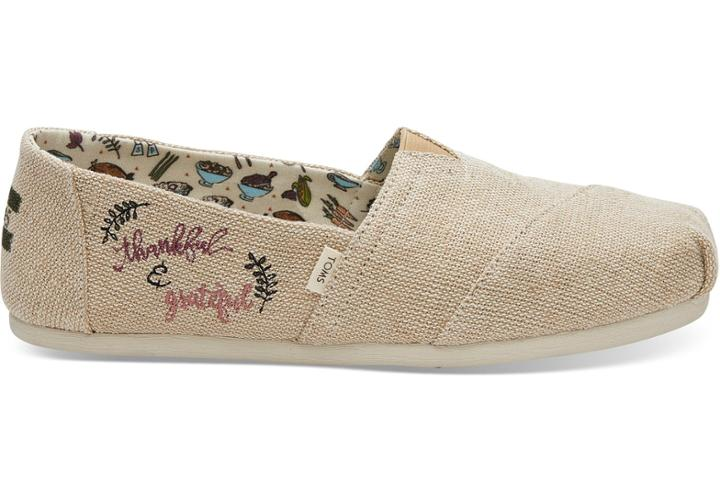Toms Natural Heritage Embroidered Thankful Women's Classics