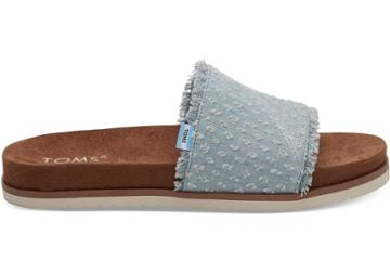 Toms Toms Seaglass Torn Denim Women's Paradise Slides Shoes - Size 10