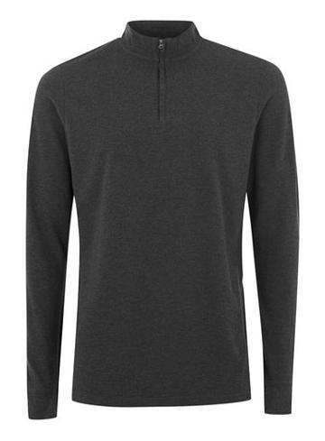 Topman Mens Selected Homme Grey Funnel Neck T-shirt